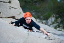Perica making the crux move of the hardest pitch