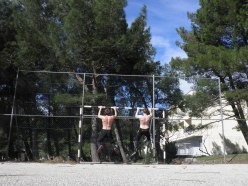 Pull-ups in 9AM in Paklenica, before going climbing into the route! (February 15th, 2014)
