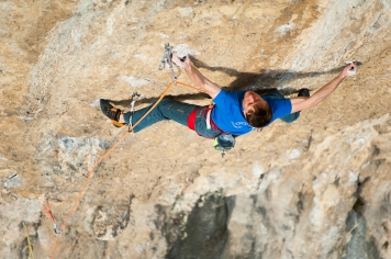 The crux of the route is around 10 moves, of about 7C Fb climbing