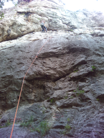 Petra on top of her second 6c