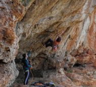 Interstellar overdrive, the first and notoriously hard 8a in Puglia