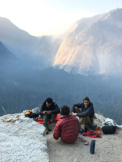 Breakfast on the ledge with fellow climbers