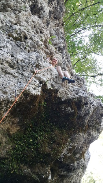 Resting after the overhang in a beautiful 7a
